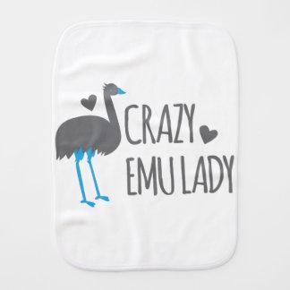 crazy emu lady burp cloth