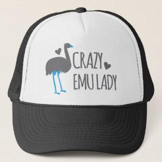 crazy emu lady trucker hat