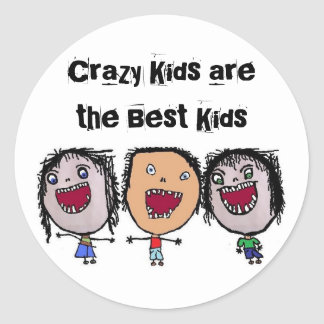 Crazy Face Cartoon Kids Round Sticker