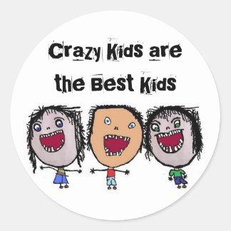 Crazy Face Cartoon Kids Round Stickers