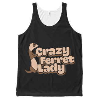 Crazy Ferret Lady All-Over Print Singlet