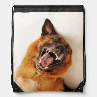 Crazy funny dog drawstring bag