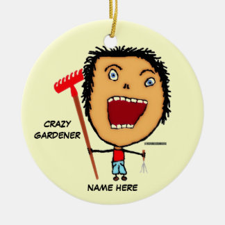 Crazy Gardener Cartoon Ceramic Ornament