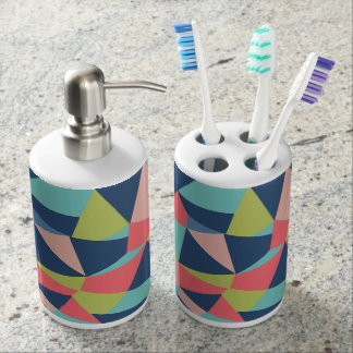 Crazy geo shapes in blue, salmon and green soap dispenser and toothbrush holder