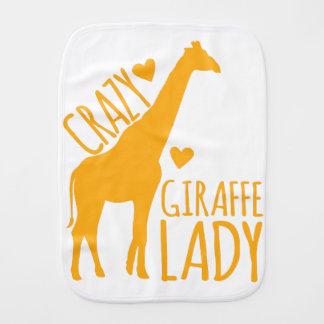 crazy giraffe lady burp cloth
