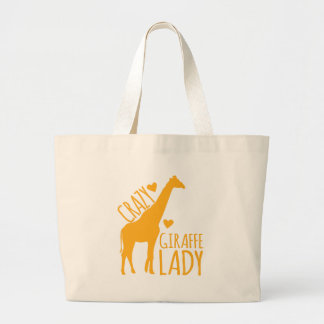 crazy giraffe lady large tote bag