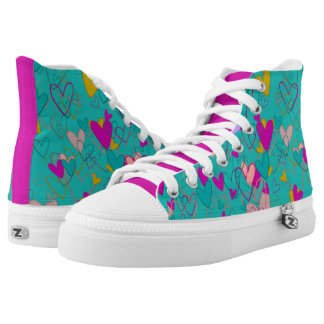 Crazy Girly Hearts Mess Pink Happy Bright Colorful High Tops