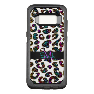 Crazy Glitter Leopard Animal Print Monogram OtterBox Commuter Samsung Galaxy S8 Case