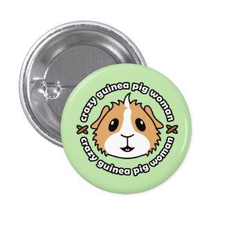 Crazy Guinea Pig Woman Button Badge