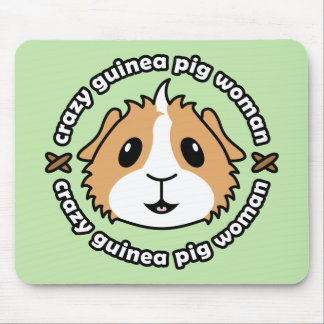 Crazy Guinea Pig Woman Mousemat