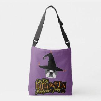 Crazy Halloween Frenchie Lady French Bulldog Mom Crossbody Bag