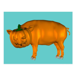Crazy Halloween Pig Postcard