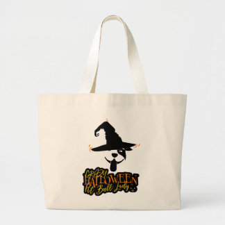 Crazy Halloween Pit Bull Lady Pit Bull Mom Large Tote Bag