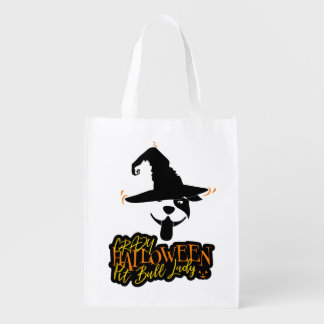 Crazy Halloween Pit Bull Lady Pit Bull Mom Reusable Grocery Bag