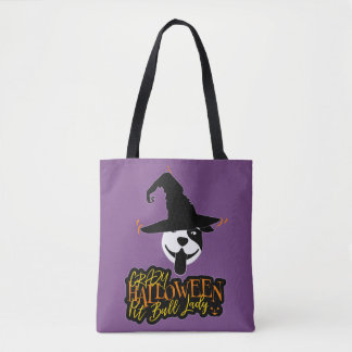 Crazy Halloween Pit Bull Lady Pit Bull Mom Tote Bag
