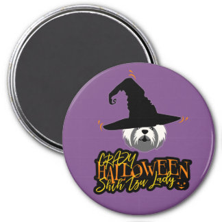 Crazy Halloween Shih Tzu Lady Shih Tzu Mom Magnet