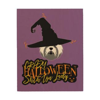 Crazy Halloween Shih Tzu Lady Shih Tzu Mom Wood Wall Art