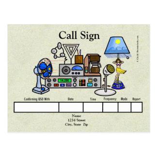 Crazy Ham Radio Rig with Hula Girl Lamp QSL Card