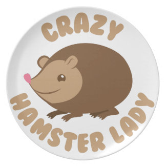 crazy hamster lady party plates