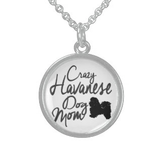 Crazy Havanese Dog Mom Sterling Silver Necklace