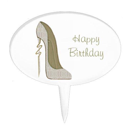 Crazy Heel Lace Stiletto Shoe Art Cake Pick