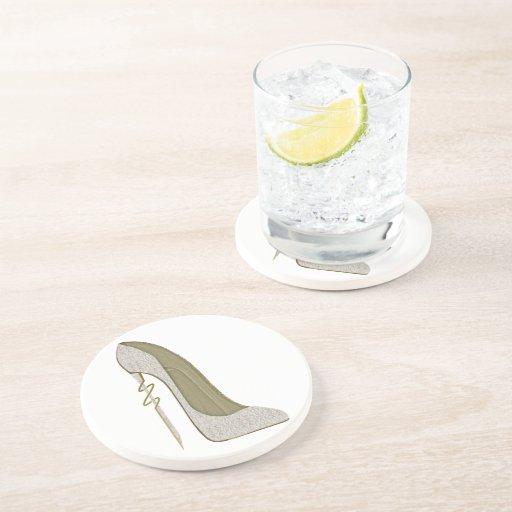 Crazy Heel Lace Stiletto Shoe Art Beverage Coasters