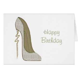 Crazy Heel Lace Stiletto Shoe Art Greeting Card
