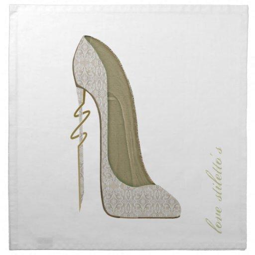Crazy Heel Lace Stiletto Shoe Art Cloth Napkins