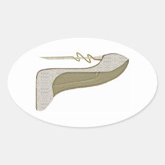 Crazy Heel Lace Stiletto Shoe Art Oval Sticker