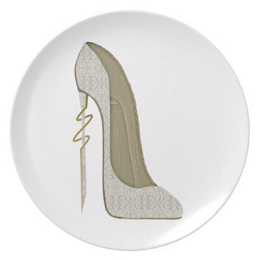 Crazy Heel Lace Stiletto Shoe Art Party Plate