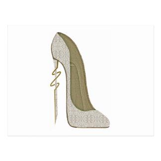 Crazy Heel Lace Stiletto Shoe Art Postcard