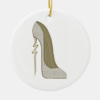 Crazy Heel Lace Stiletto Shoe Art Round Ceramic Decoration