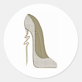 Crazy Heel Lace Stiletto Shoe Art Round Sticker