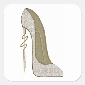 Crazy Heel Lace Stiletto Shoe Art Square Sticker