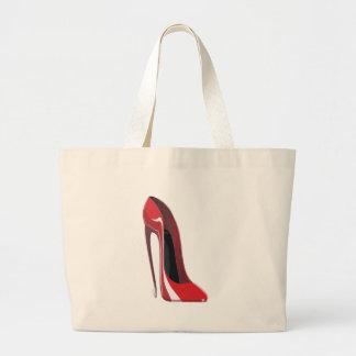 Crazy heel red stiletto shoe art canvas bags