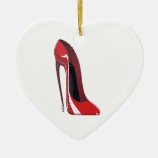 Crazy heel red stiletto shoe art ceramic heart decoration