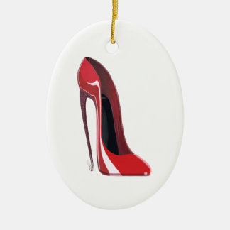 Crazy heel red stiletto shoe art ceramic oval decoration