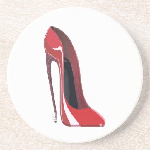Crazy heel red stiletto shoe art drink coaster