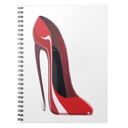 Crazy heel red stiletto shoe art notebooks