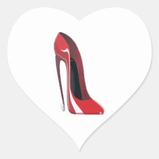 Crazy heel red stiletto shoe art heart sticker