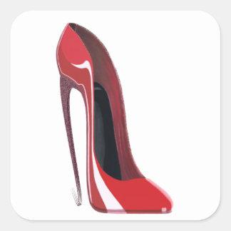 Crazy heel red stiletto shoe art square sticker