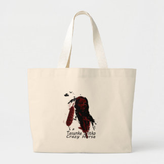 crazy-horse feather large tote bag