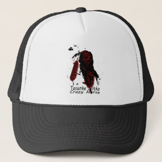 crazy-horse feather trucker hat