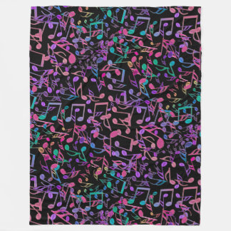 Crazy Hot Pink Rainbow Music Notes Fleece Blanket