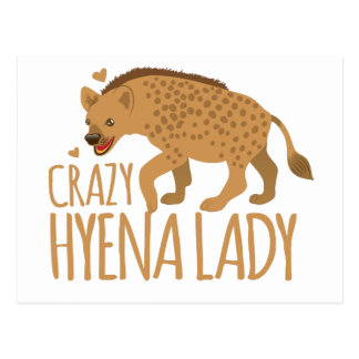 crazy hyena lady postcard