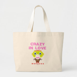 Crazy in love-Cute Monkey-Morocko Large Tote Bag