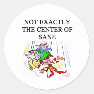 crazy insane psychology design classic round sticker