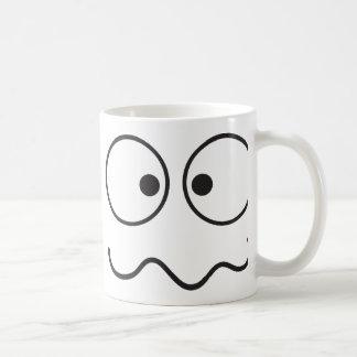 Crazy insane smiley face cross eyed basic white mug