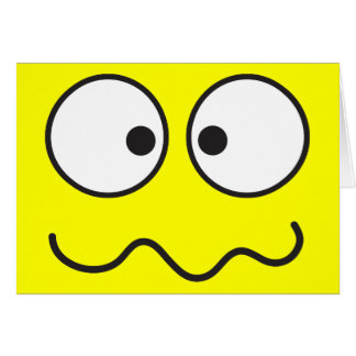 Crazy insane smiley face cross eyed greeting card