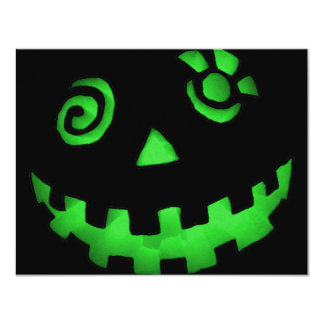 Crazy Jack O Lantern Pumpkin Face Green 11 Cm X 14 Cm Invitation Card